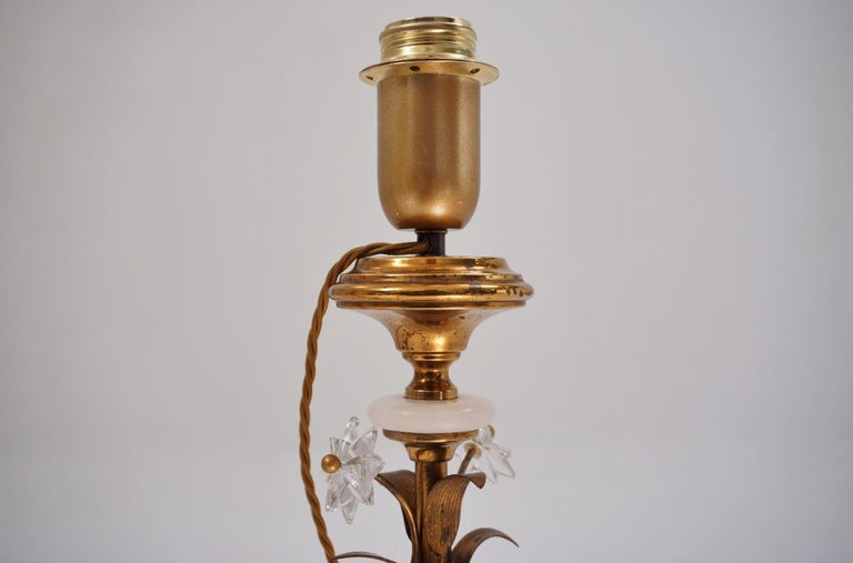 Pair of Banci Firenze Florentine Tole Gold Gilt Table Lamps, Crystal & Alabaster For Sale 1