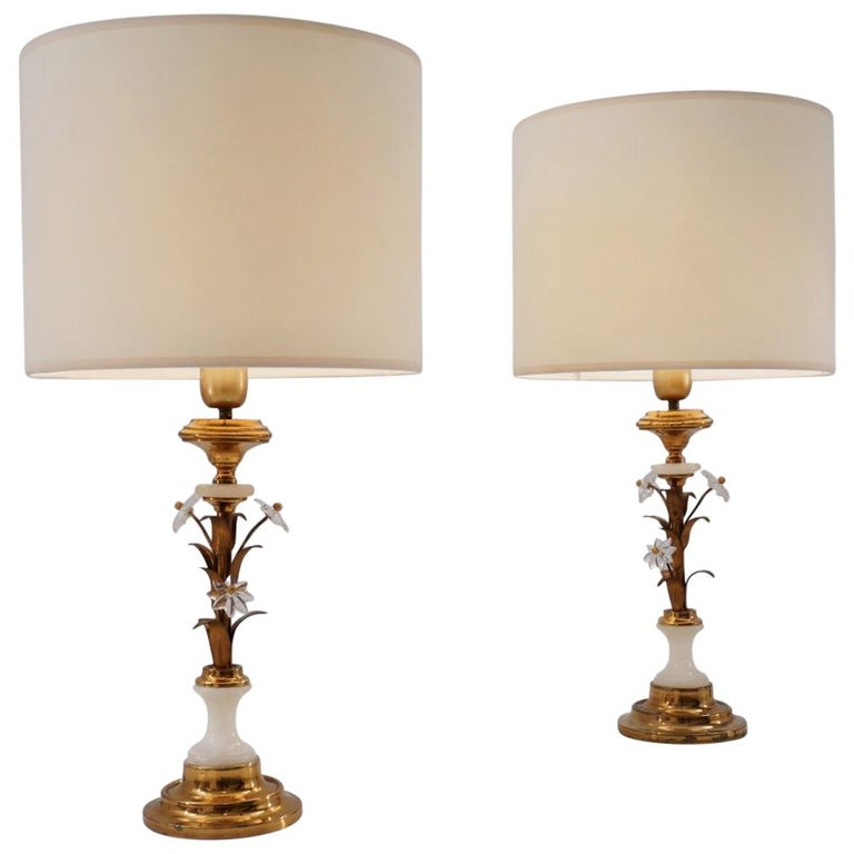 Pair of Banci Firenze Florentine Tole Gold Gilt Table Lamps, Crystal & Alabaster For Sale