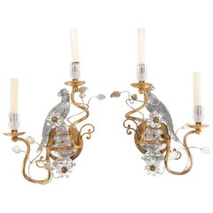 Pair of Banci, Italy Gilt and Crystal Sconces with Parrots