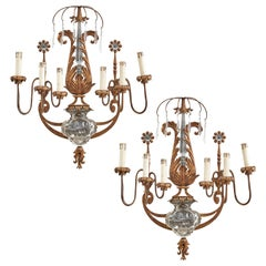 Pair of Banci 'Urn of Flowers' Glass and Gilt Metal Wall Sconces, Italy