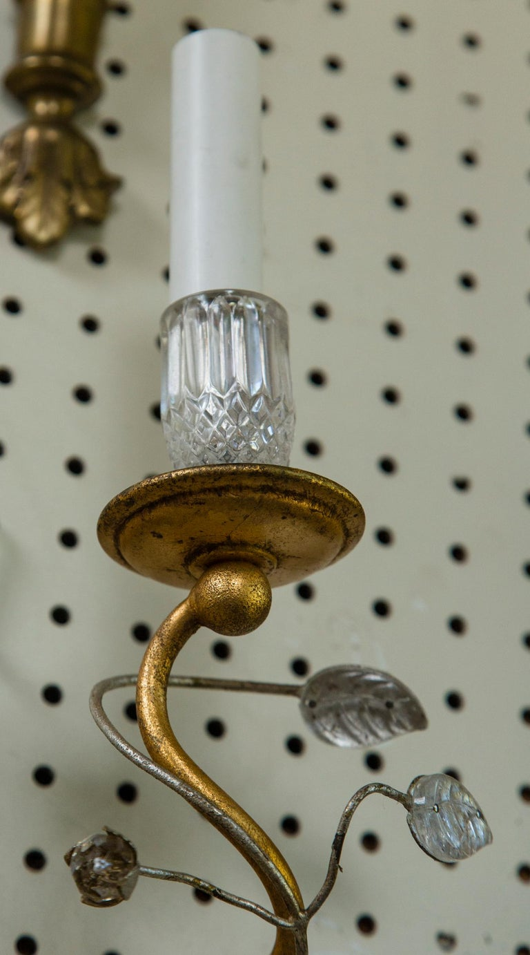 Crystal Pair of Bagues Style Parrot 2-Light Sconces For Sale