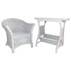 Pair of Bar Harbor Wicker Child's Chair and Side Table