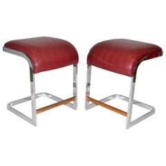 Pair of Leather and Chrome Bar / Counter Stools by Design Institute of America