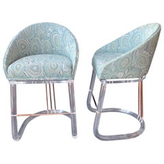 Pair of Bar Stools by Lion in Frost