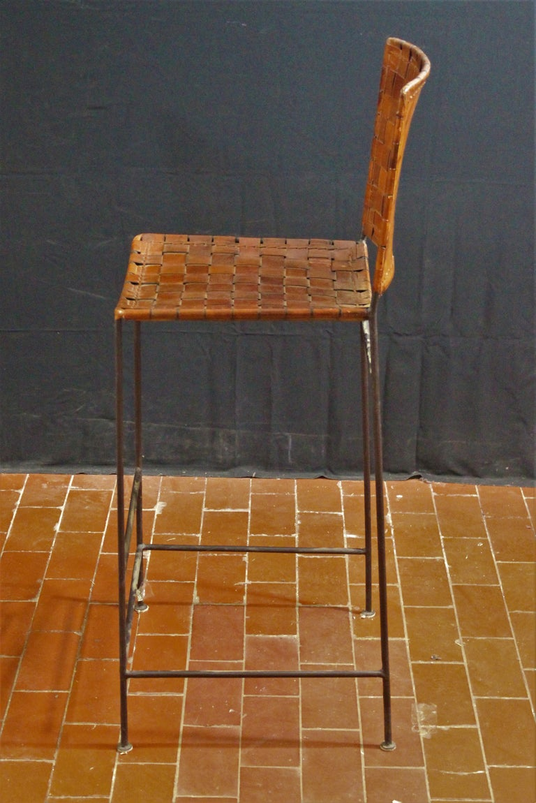 Pair Of Bar Stools In Woven Saddle Brown Leather For Sale