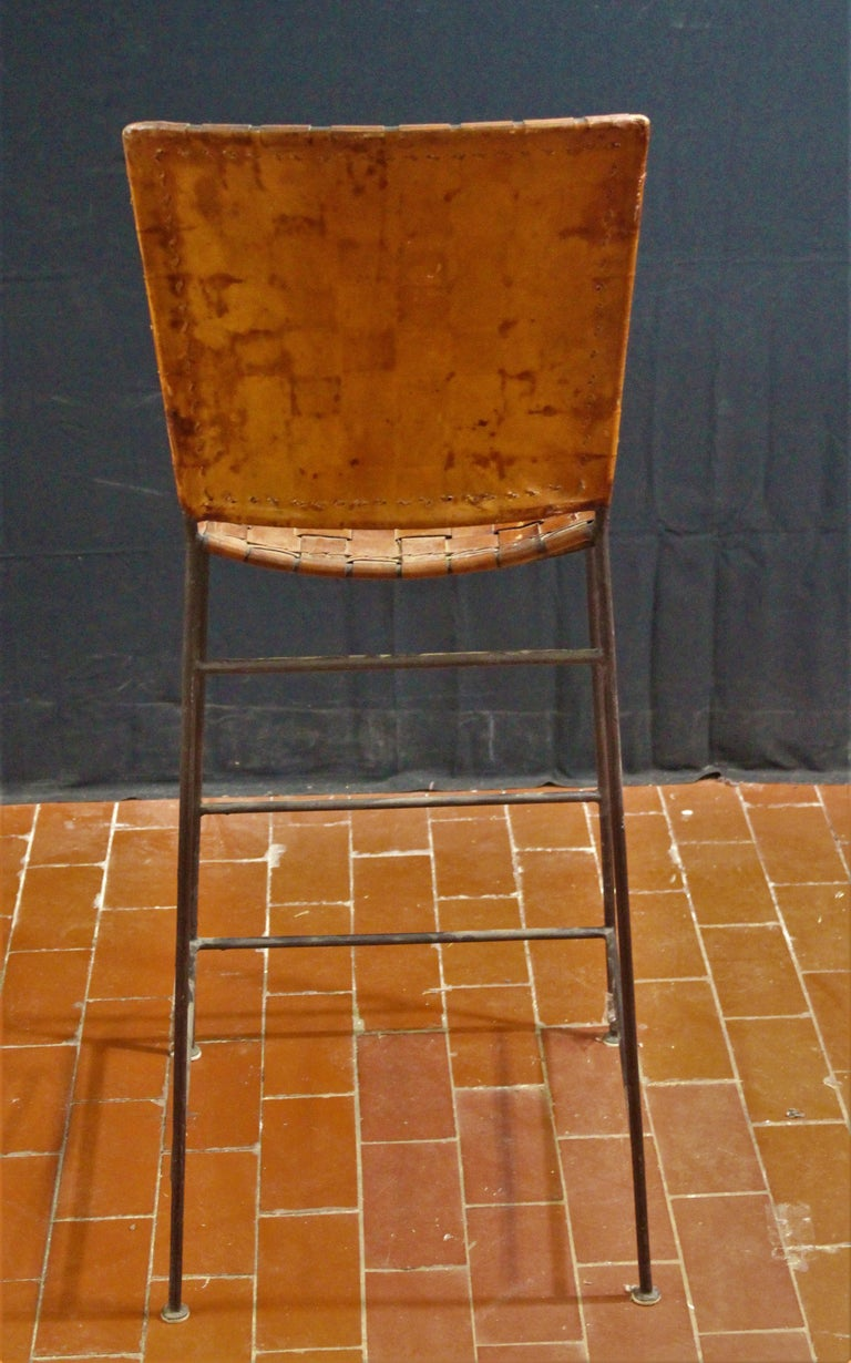 Pair Of Bar Stools In Woven Saddle Brown Leather At 1stdibs