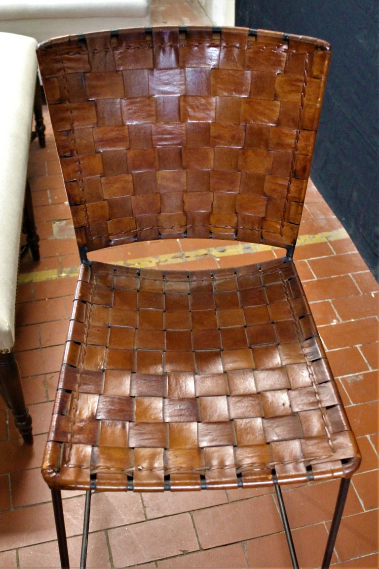 Contemporary Pair of Bar Stools in Woven Saddle Brown Leather For Sale