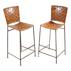 Pair of Bar Stools in Woven Saddle Brown Leather
