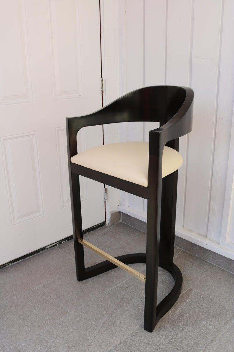 Pair of Bar Stools with Brass Foot Rests by Karl Springer In Excellent Condition For Sale In Los Angeles, CA
