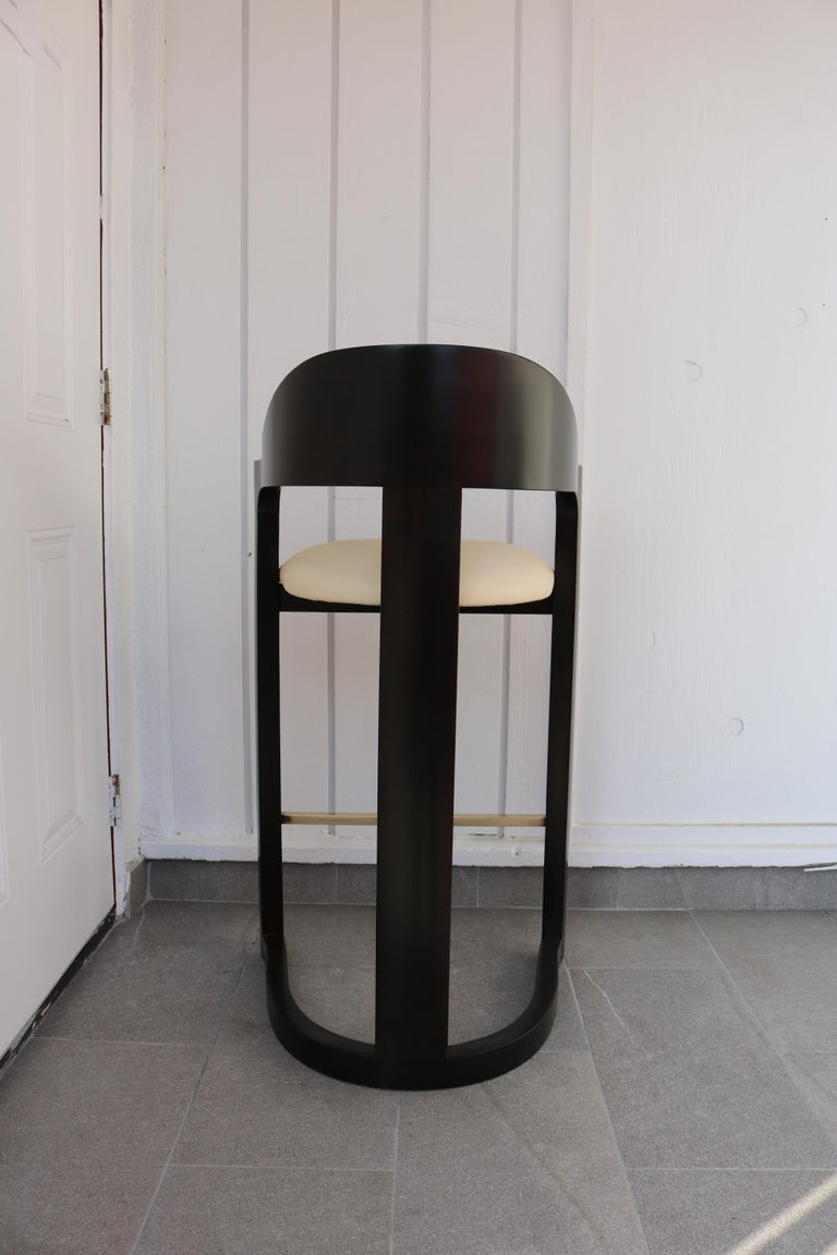Pair of Bar Stools with Brass Foot Rests by Karl Springer For Sale 1