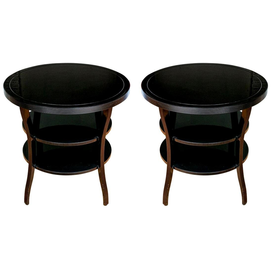 Pair of Barbara Barry for Baker Lacquered End Tables