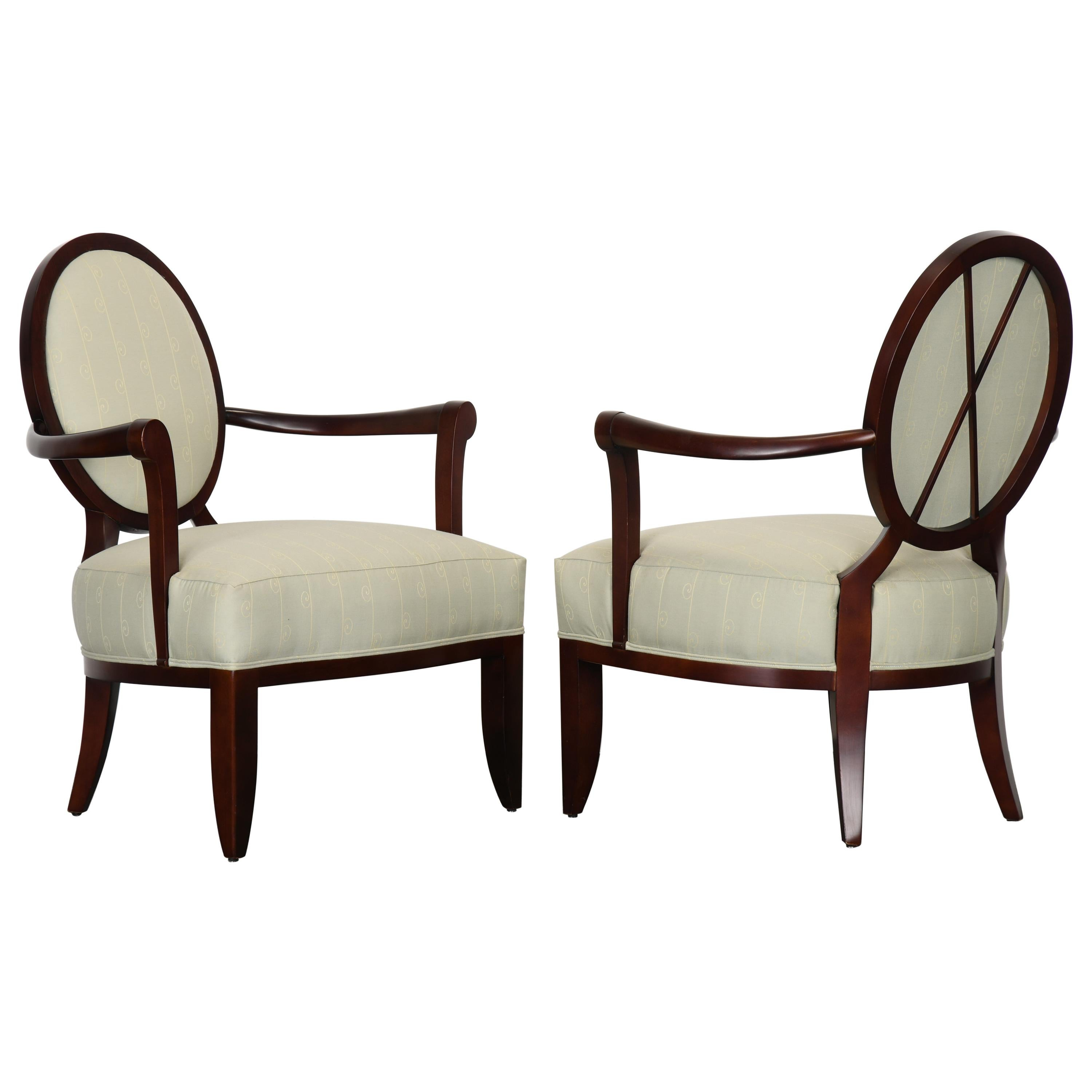 Pair of Barbara Barry Oval X-Back Armchairs for Baker Furniture, 1990s