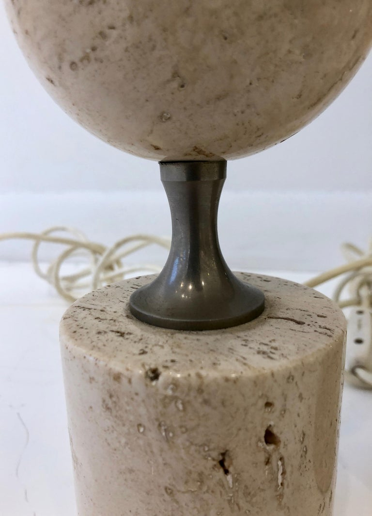 Mid-20th Century Pair of Barbier Nickel and Travertine Table Lamps For Sale