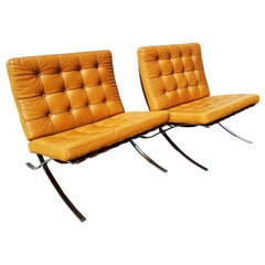 Pair of Barcelona Armchairs, Cognac Leather by Mies Van Der Rohe for Knoll, 1968