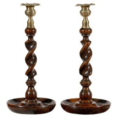 Pair of Barley Twist Carved Wooden Antique Candlesticks From Scotland