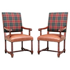 Pair of Barley Twist Chairs in Ralph Lauren Plaid & Holly Hunt Leather