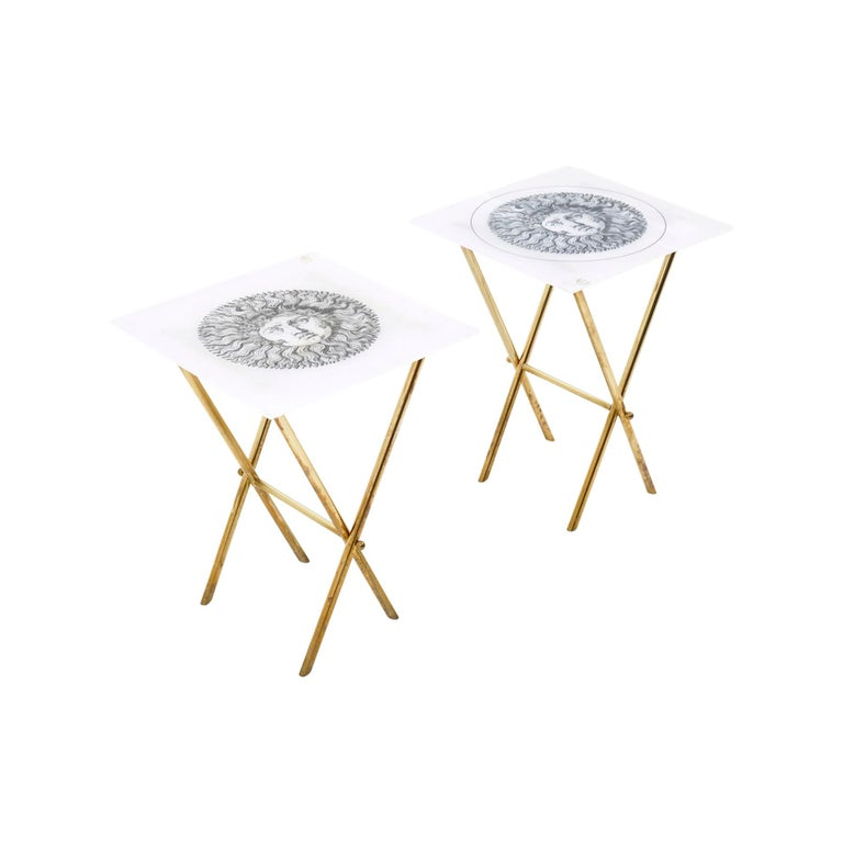 Pair of Barnaba Fornasetti Tray Tables, Acrylic Tops, Brass Folding Bases Signed For Sale