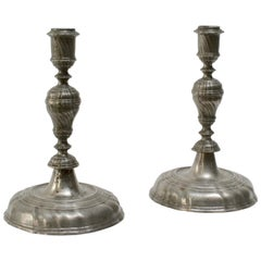 Pair of Barock Pewter Candlesticks, 18th Century