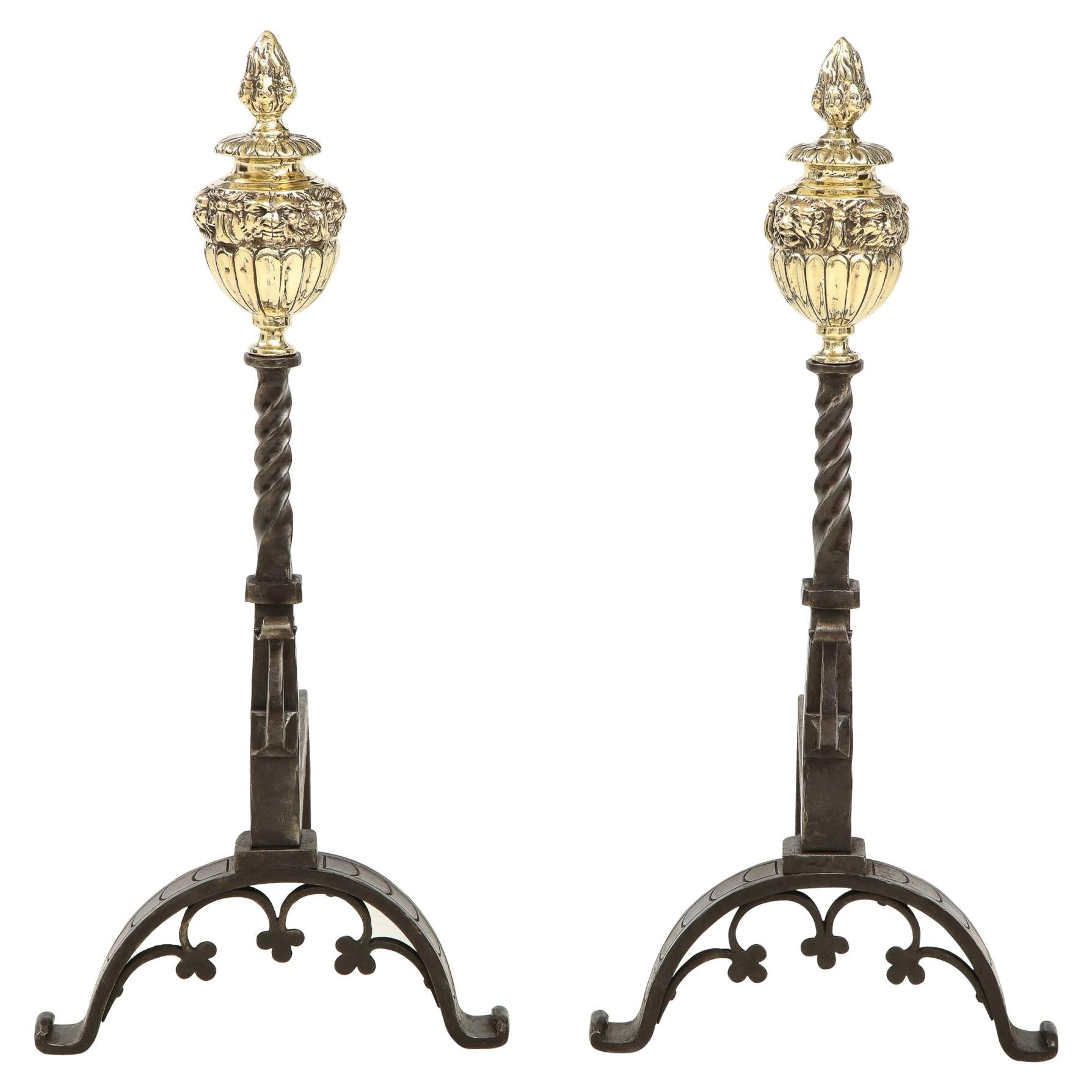 Pair of Baroque Andirons