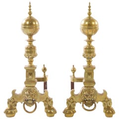 Pair of Baroque Style Brass Andirons