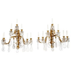 Pair of Baroque Style Bronze and Crystal Wall Sconces