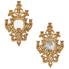 Pair of Baroque Style Giltwood Sconces, Possibly Flemish, Early 19th Century