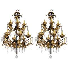 Pair of Baroque Style Hollywood Regency Chandeliers