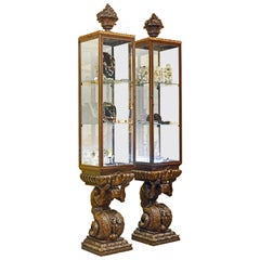 Pair of Baroque Style Vertical Vitrine Cabinets on Figural Bases