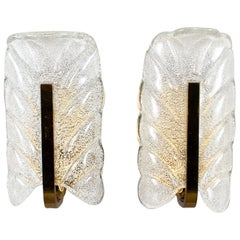Pair of Barovier and Toso Glass and Brass Leaf Form Sconces