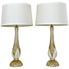 Pair murano Gold White Table Lamps