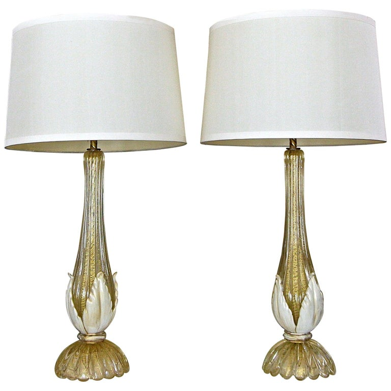 Pair murano Gold White Table Lamps For Sale