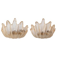 Pair of Barovier e Toso Clamshell Sconces