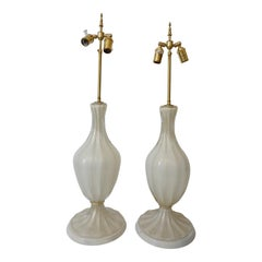 Pair of Barovier et Toso Murano Glass Lamps