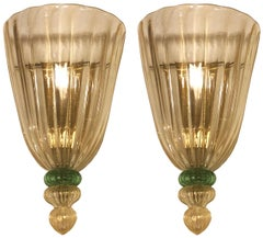 Pair of Barovier Fluted Glass Sconces