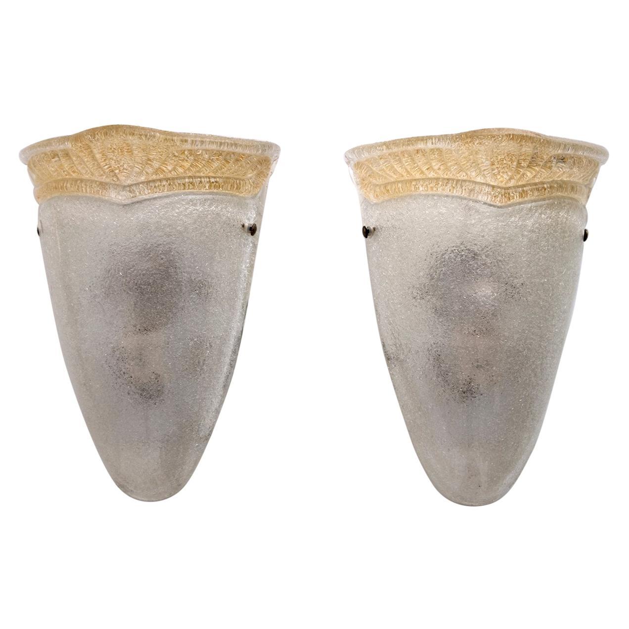 Pair of Barovier Mid-Century Modern Italian Murano Glass Sconces, 1960s