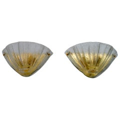 Pair of Barovier Mid-Century Modern Italian Murano Glass Shell Sconces, 1960s