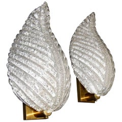 Pair of Barovier Murano Glass Leaf Wall Sconces