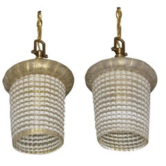 Pair of Barovier Murano Gold White Lantern Pendant Ceiling Lights