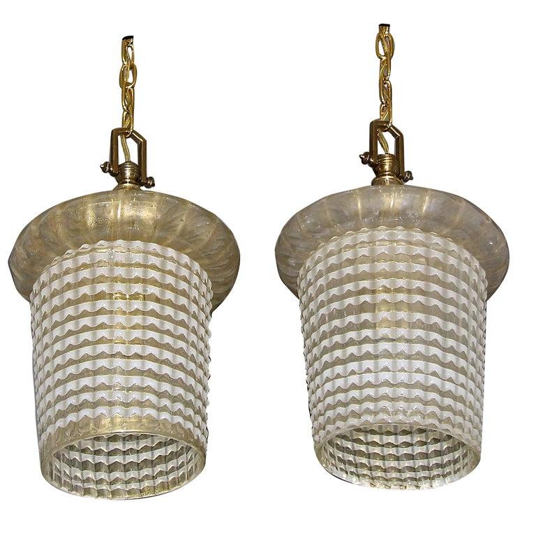 Pair of Barovier Murano Gold White Lantern Pendant Ceiling Lights