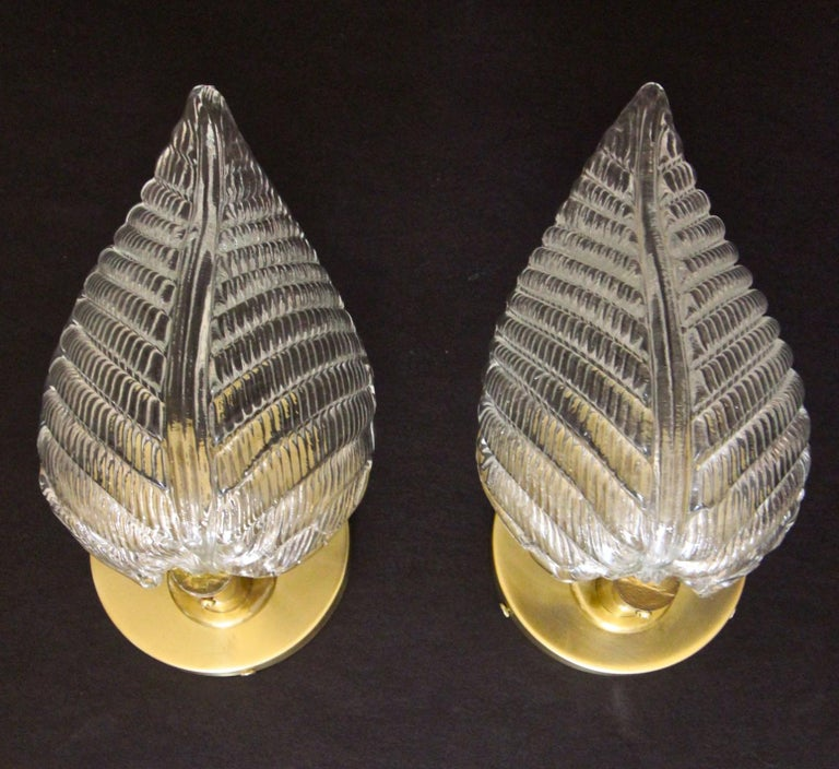 Pair of Barovier Murano Italian Clear Glass Leaf Wall Sconces For Sale 11