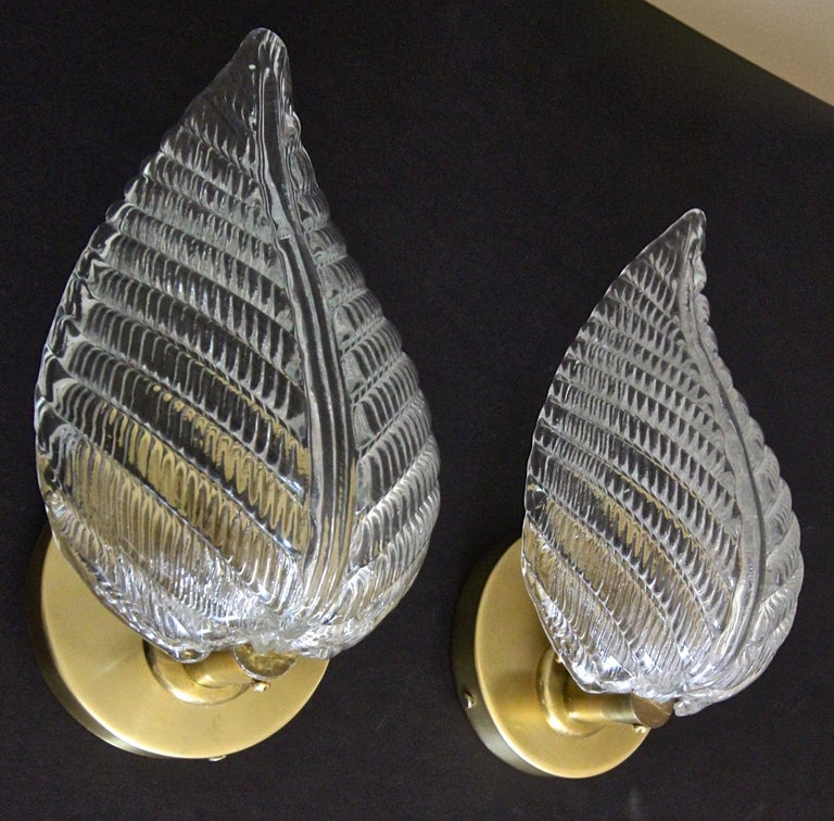 Mid-20th Century Pair of Barovier Murano Italian Clear Glass Leaf Wall Sconces For Sale