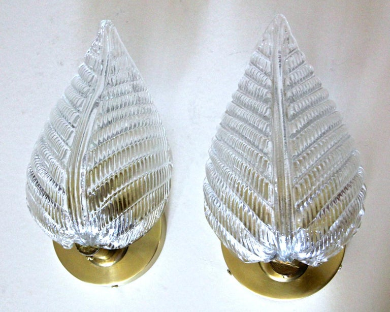 Pair of Barovier Murano Italian Clear Glass Leaf Wall Sconces For Sale 1