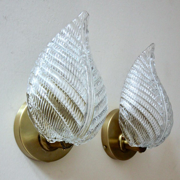 Pair of Barovier Murano Italian Clear Glass Leaf Wall Sconces For Sale 2