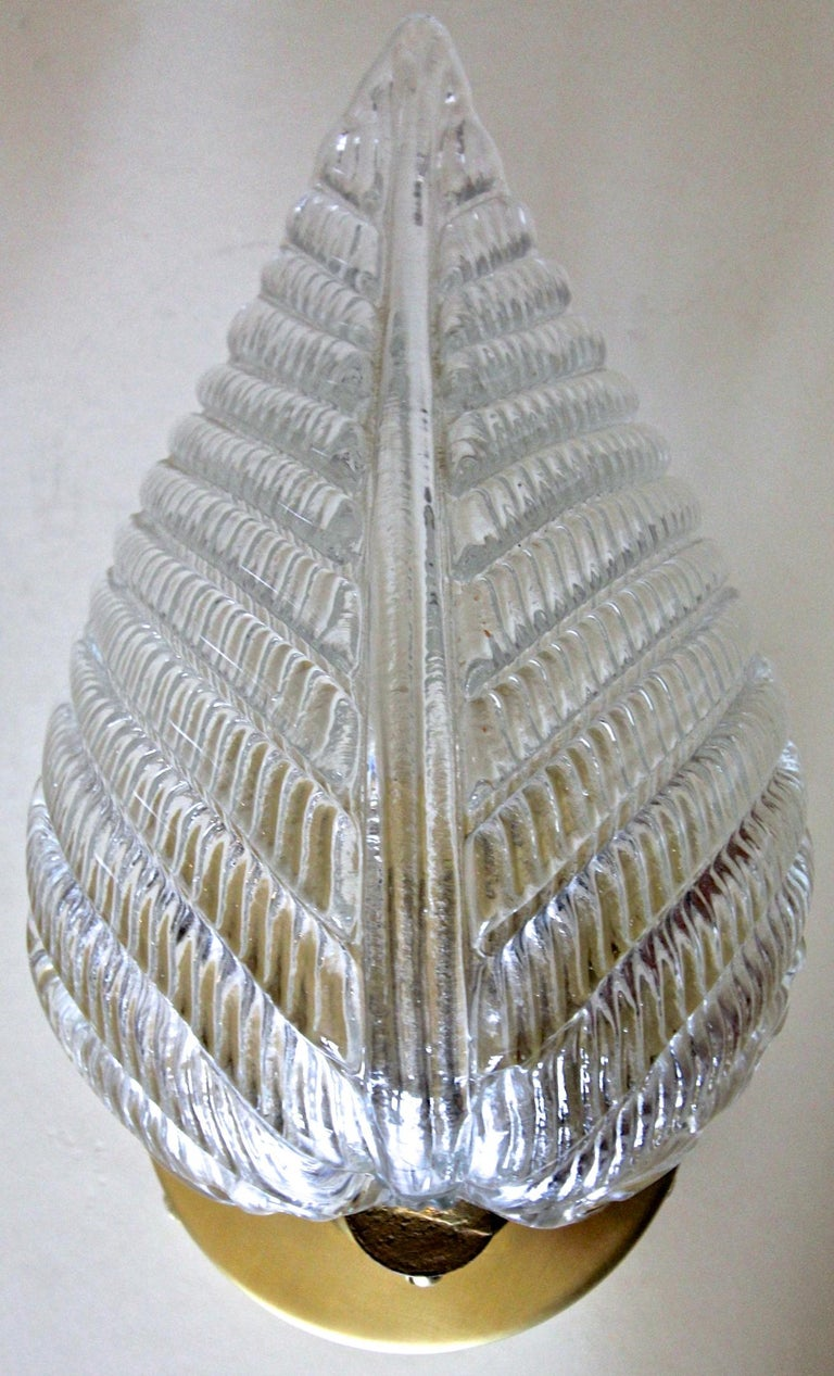 Pair of Barovier Murano Italian Clear Glass Leaf Wall Sconces For Sale 4
