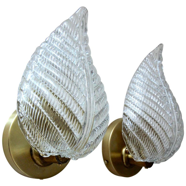 Pair of Barovier Murano Italian Clear Glass Leaf Wall Sconces For Sale