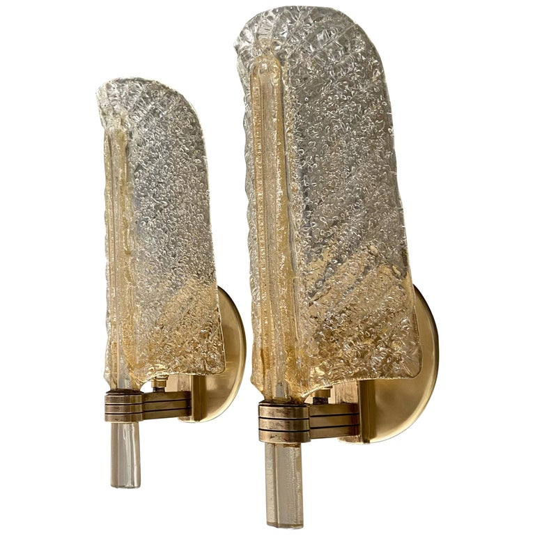 Pair of Barovier Murano Rugiadoso Gold Leaf Wall Sconces For Sale