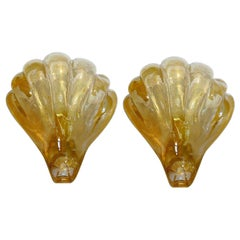 Pair of Barovier Style Gold Murano Glass Shell Sconces