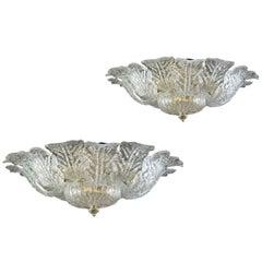 Pair of Barovier & Toso Brass Frame Murano Glass Ceiling Light or Flush Mount