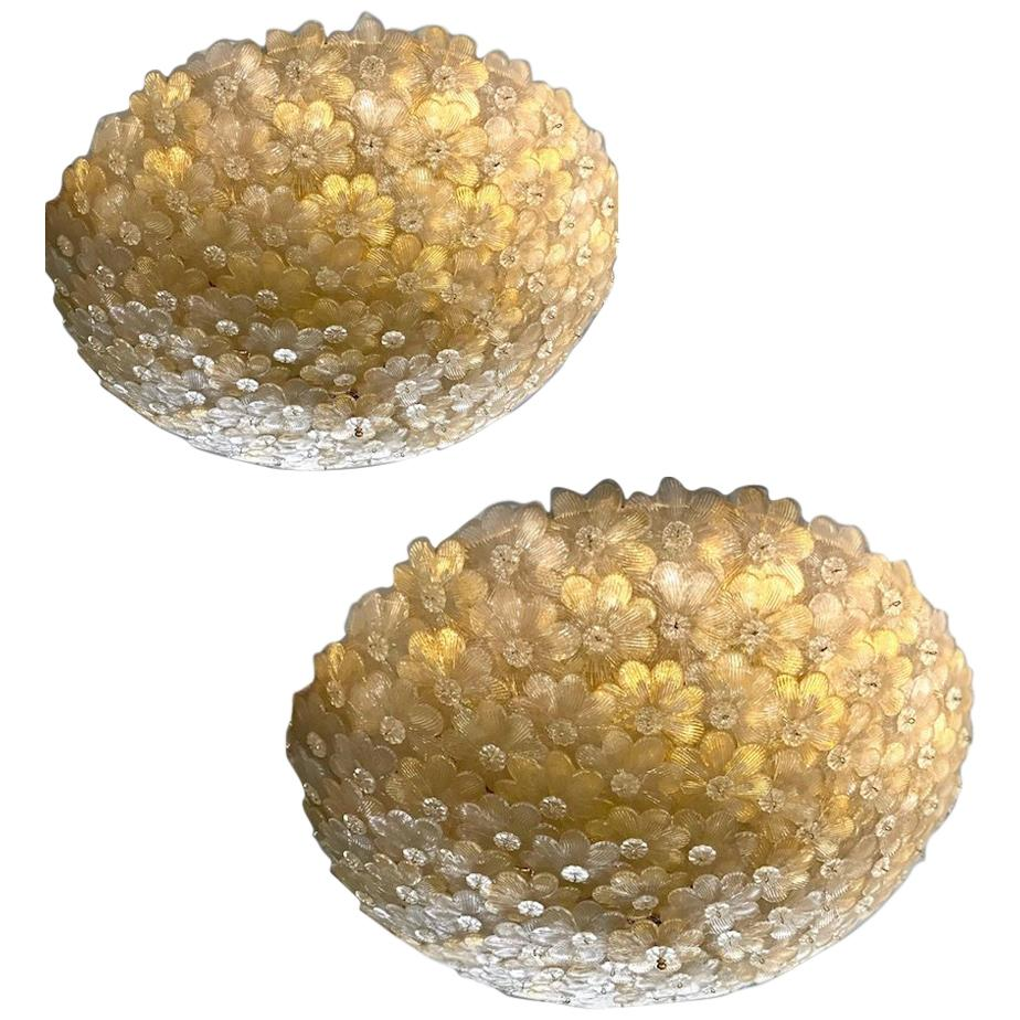 Pair of Barovier & Toso Ceiling Light Murano Glass Gold and Ice Flowers Basket