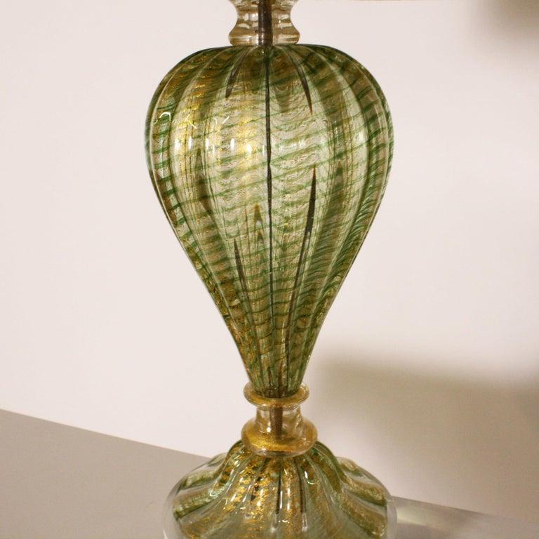 Italian Pair of Barovier & Toso Coronado d'Oro green lamps, circa 1950 For Sale